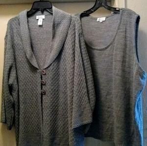 New 3X Denim & Co gray textured sweater set